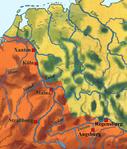 Karte: Römisches Gebiet und Germanien um 200 n. Chr