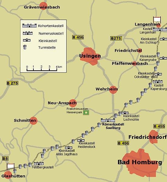 Karte: Limeserlebnispfad Hochtaunus